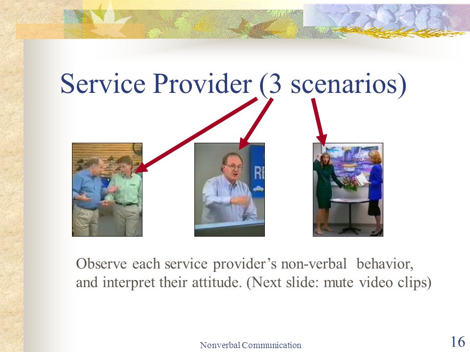 Nonverbal Communication 16 Service Provider (3 scenarios) Observe each service provider's non-verbal behavior, and interpret their attitude.