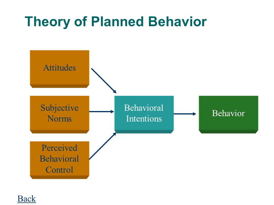 Theory of Planned Behavior Attitudes Subjective Norms Perceived Behavioral Control Behavioral Intentions Behavior Back