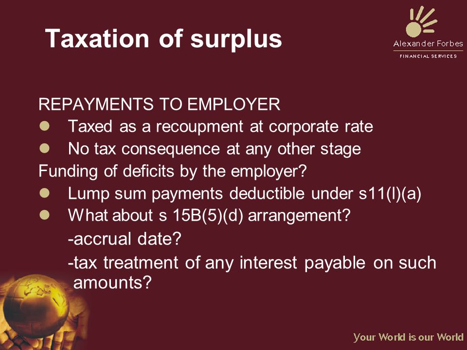 Taxation of surplus REPAYMENTS TO EMPLOYER lTaxed as a recoupment at corporate rate lNo tax consequence at any other stage Funding of deficits by the employer.