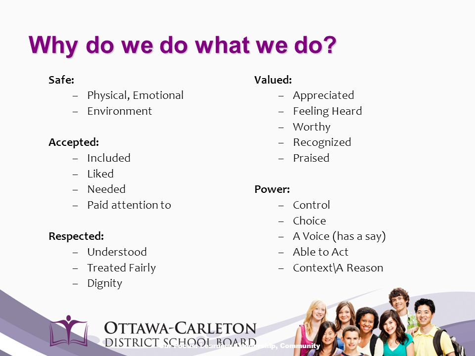 Our Focus: Learning, Leadership, Community Why do we do what we do? Safe: –Physical, Emotional –Environment Accepted: –Included –Liked –Needed –Paid a