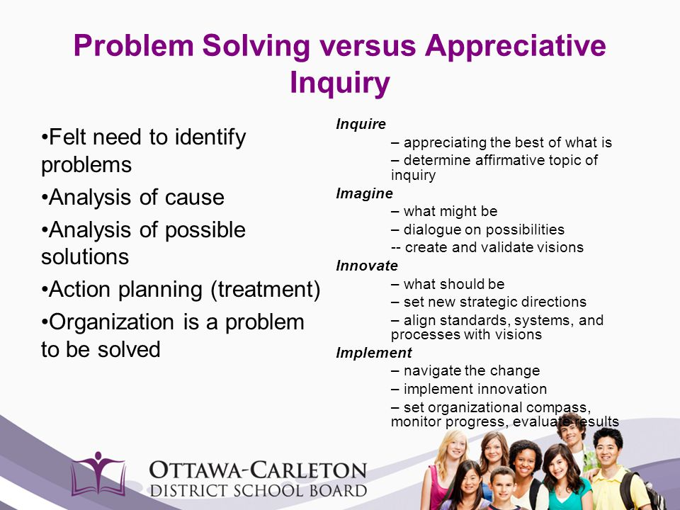 Problem Solving versus Appreciative Inquiry Felt need to identify problems Analysis of cause Analysis of possible solutions Action planning (treatment