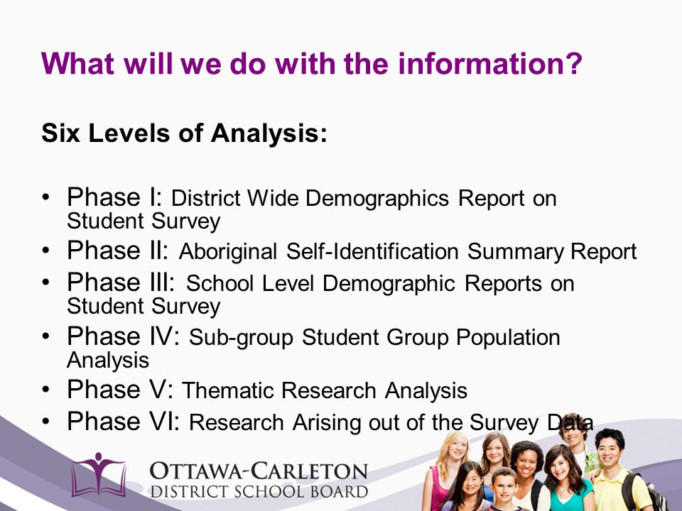 What will we do with the information? Six Levels of Analysis: Phase I: District Wide Demographics Report on Student Survey Phase II: Aboriginal Self-I