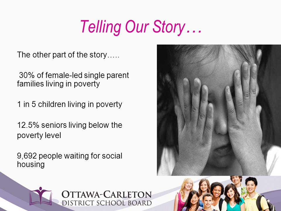 Telling Our Story … The other part of the story….. 30% of female-led single parent families living in poverty 1 in 5 children living in poverty 12.5%