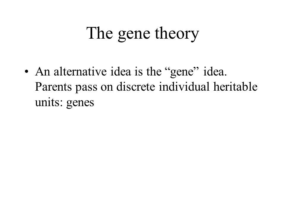 "The gene theory An alternative idea is the ""gene"" idea. Parents pass on discrete individual heritable units: genes"
