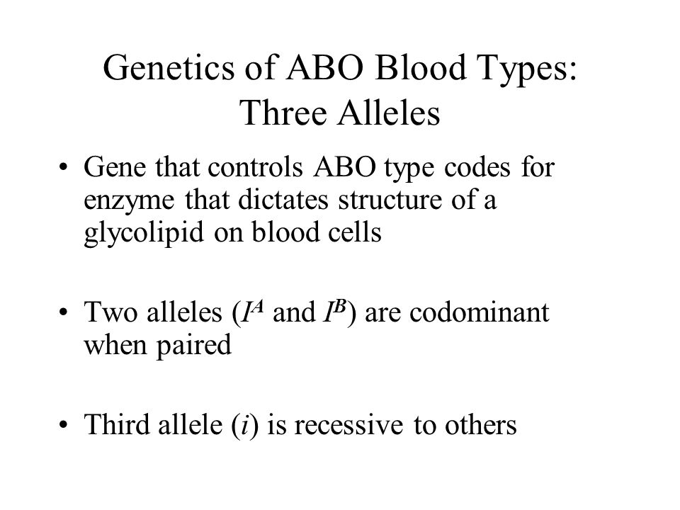 Genetics of ABO Blood Types: Three Alleles Gene that controls ABO type codes for enzyme that dictates structure of a glycolipid on blood cells Two all