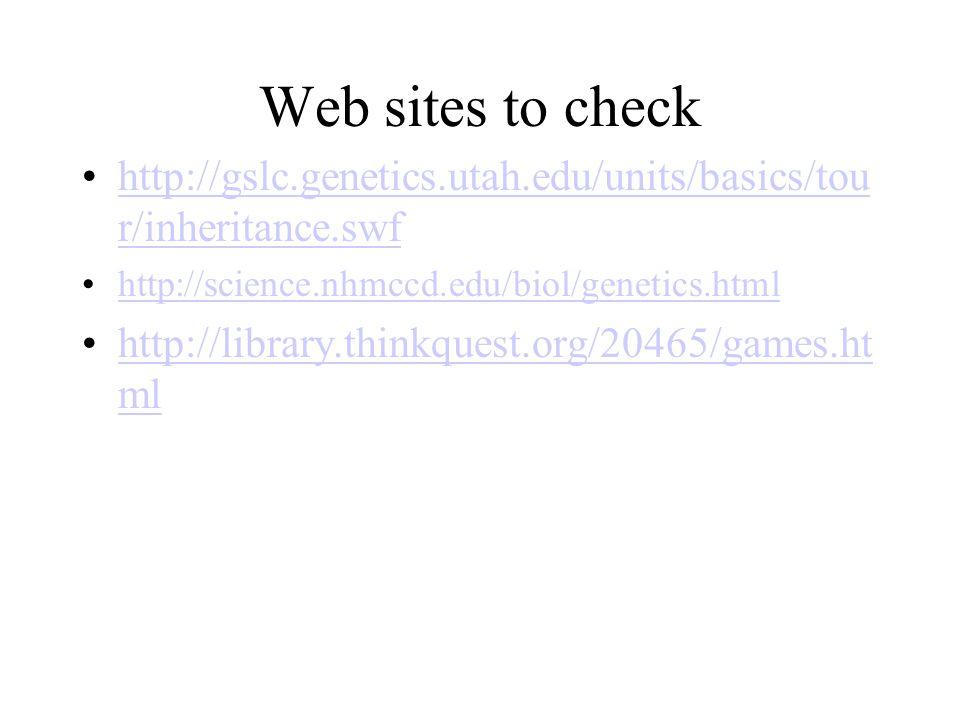 Web sites to check http://gslc.genetics.utah.edu/units/basics/tou r/inheritance.swfhttp://gslc.genetics.utah.edu/units/basics/tou r/inheritance.swf ht