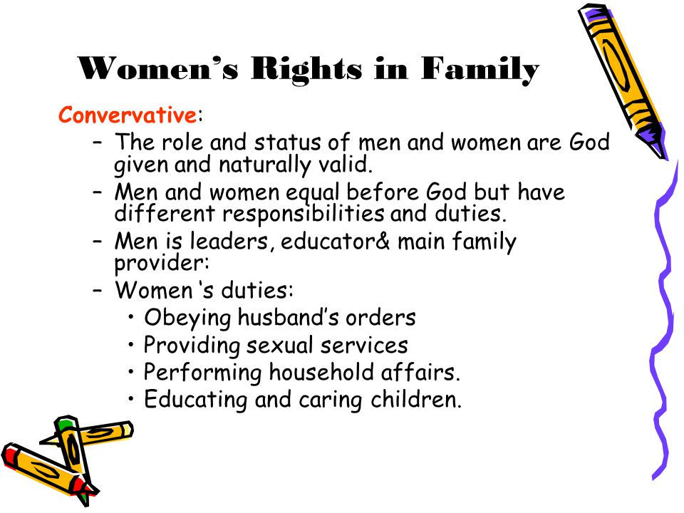 Women's Rights in Family Convervative: –The role and status of men and women are God given and naturally valid. –Men and women equal before God but ha