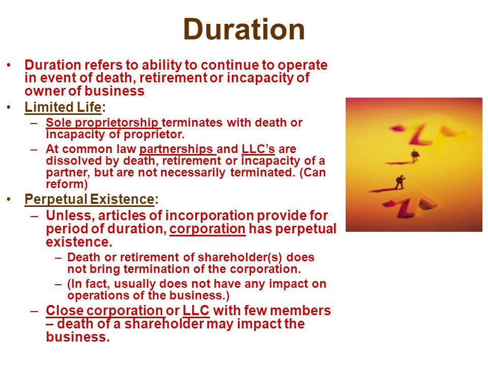 Duration Duration refers to ability to continue to operate in event of death, retirement or incapacity of owner of business Limited Life: –Sole propri