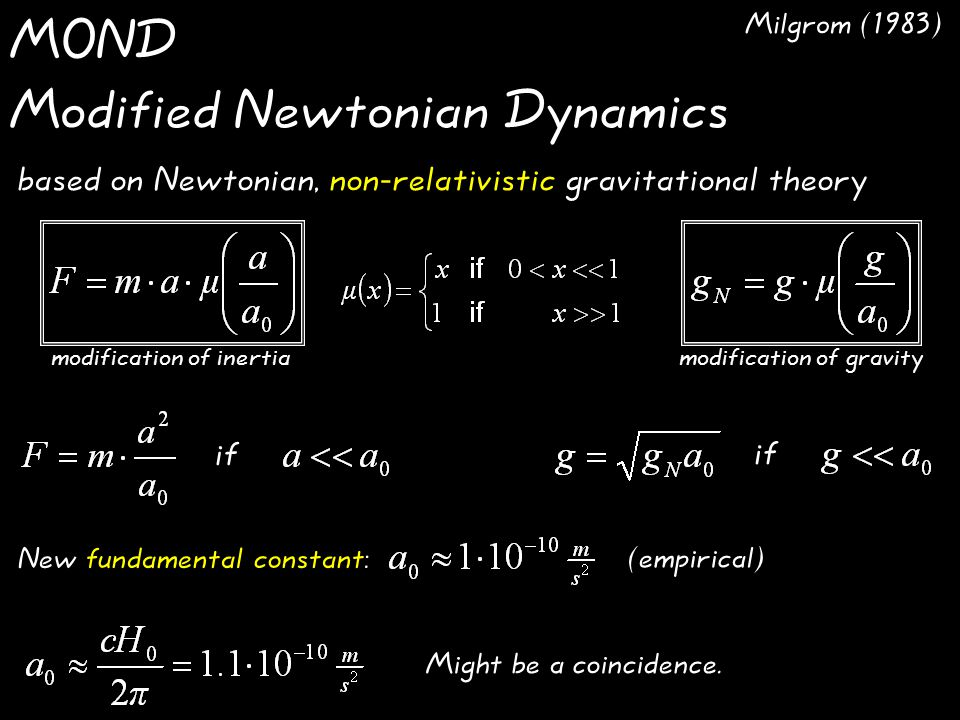 MOND Modified Newtonian Dynamics Might be a coincidence.