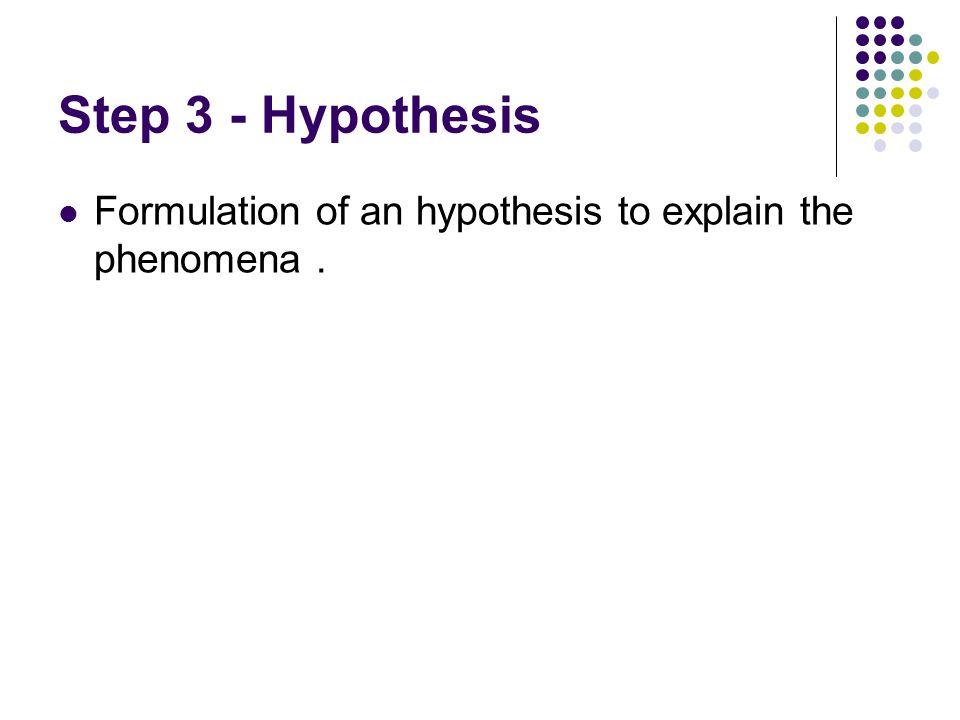 Step 3 - Hypothesis Formulation of an hypothesis to explain the phenomena.