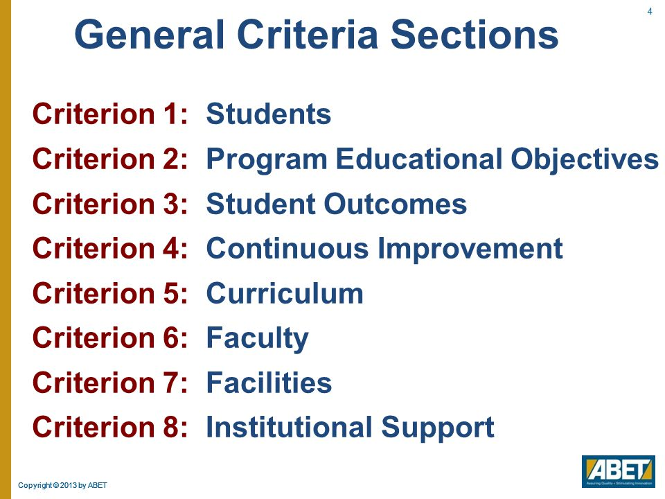 Copyright © 2013 by ABET Criterion 1: Students  The program must:  Evaluate student performance, advise students, and monitor students' progress.