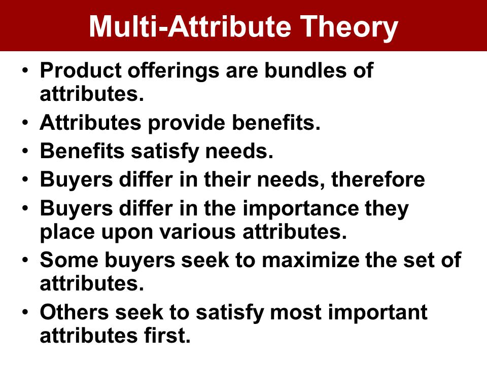 Multi-Attribute Theory Product offerings are bundles of attributes.