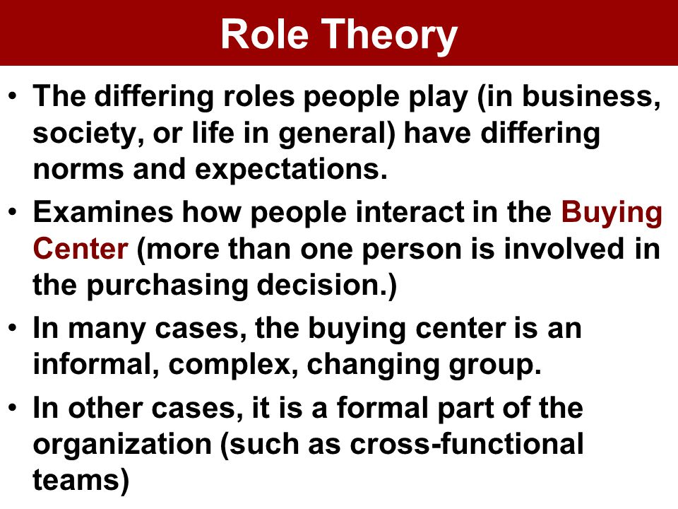 Role Theory The differing roles people play (in business, society, or life in general) have differing norms and expectations.