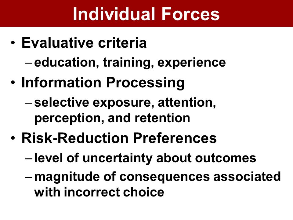 Individual Forces Evaluative criteria –education, training, experience Information Processing –selective exposure, attention, perception, and retention Risk-Reduction Preferences –level of uncertainty about outcomes –magnitude of consequences associated with incorrect choice