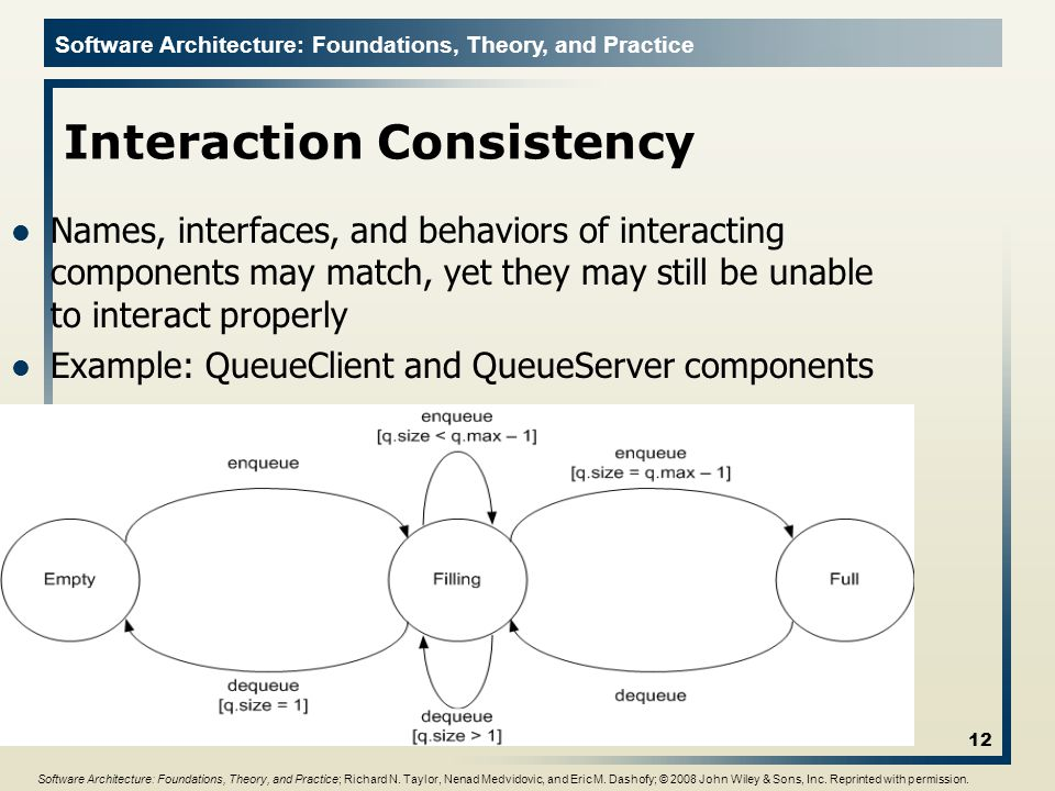 Software Architecture: Foundations, Theory, and Practice Interaction Consistency 12 Names, interfaces, and behaviors of interacting components may match, yet they may still be unable to interact properly Example: QueueClient and QueueServer components Software Architecture: Foundations, Theory, and Practice; Richard N.