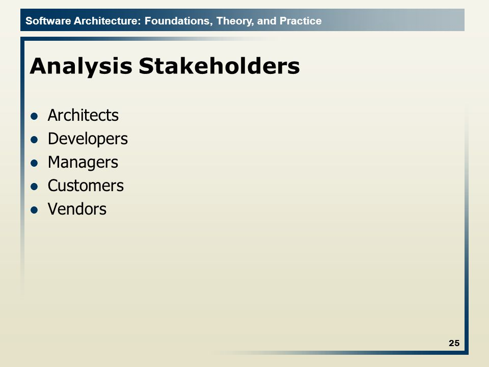 Software Architecture: Foundations, Theory, and Practice Analysis Stakeholders Architects Developers Managers Customers Vendors 25