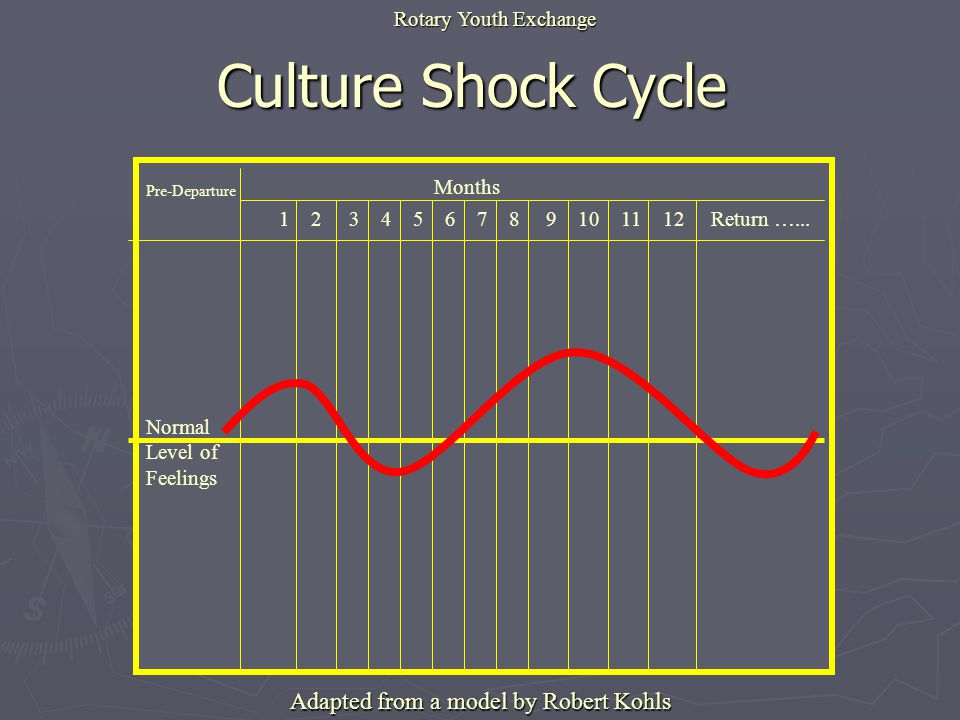 Culture Shock Cycle Pre-Departure Months Normal Level of Feelings 1 2 3 4 5 6 7 8 9 10 11 12 Return …...