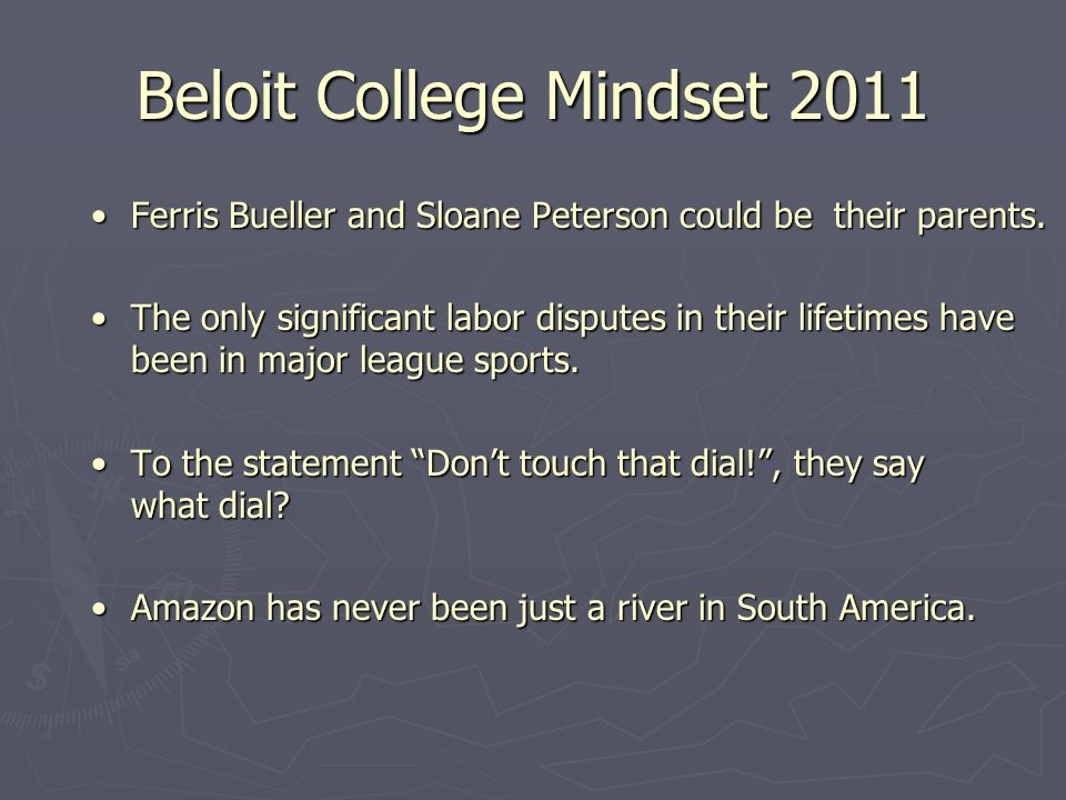 Beloit College Mindset 2011 Ferris Bueller and Sloane Peterson could be their parents.Ferris Bueller and Sloane Peterson could be their parents.