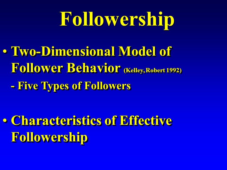 Followership Followership Two-Dimensional Model of Follower Behavior (Kelley, Robert 1992)Two-Dimensional Model of Follower Behavior (Kelley, Robert 1992) - Five Types of Followers - Five Types of Followers Characteristics of Effective FollowershipCharacteristics of Effective Followership Two-Dimensional Model of Follower Behavior (Kelley, Robert 1992)Two-Dimensional Model of Follower Behavior (Kelley, Robert 1992) - Five Types of Followers - Five Types of Followers Characteristics of Effective FollowershipCharacteristics of Effective Followership