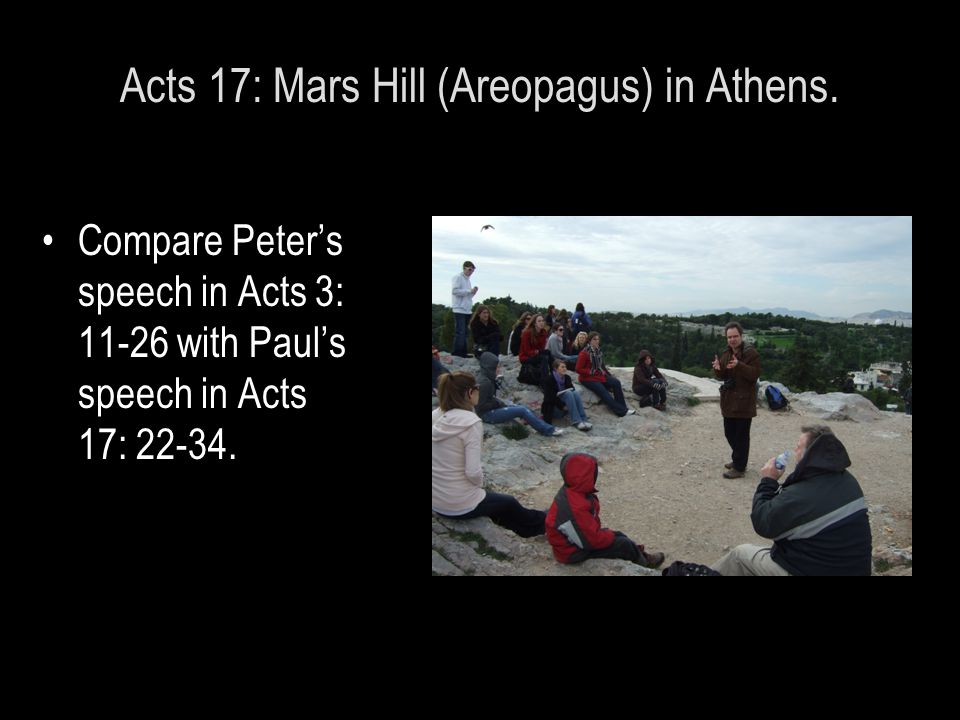 Acts 17: Mars Hill (Areopagus) in Athens.