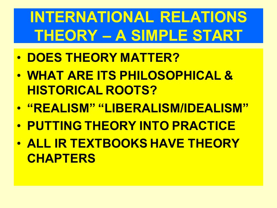 INTERNATIONAL RELATIONS THEORY – A SIMPLE START DOES THEORY MATTER.