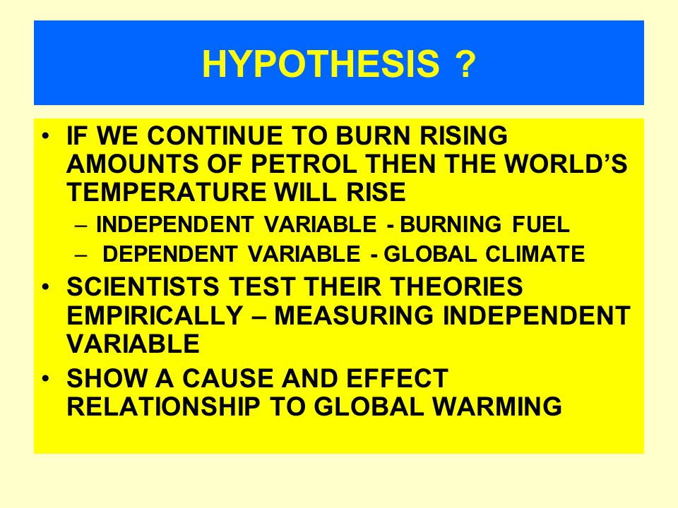 CONCEPTS TO KNOW PREMISSES HYPOTHESES INDEPENDENT/DEPENDENT VARIABLES VALIDITY CRITERIA (Refutation vs.