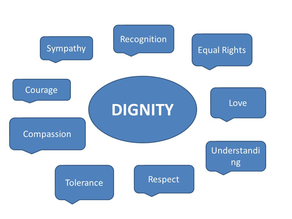 DIGNITY Equal Rights Love Understandi ng Respect Tolerance Compassion Recognition Courage Sympathy