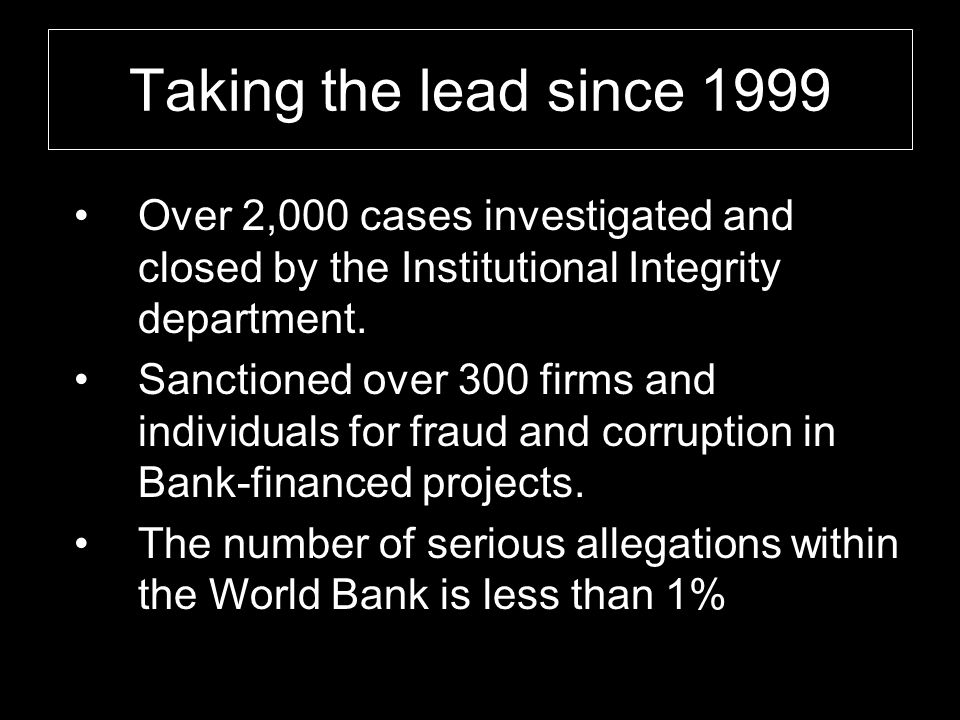 Taking the lead since 1999 Since 1999, Over 2,000 cases investigated and closed by the Institutional Integrity department. Sanctioned over 300 firms a