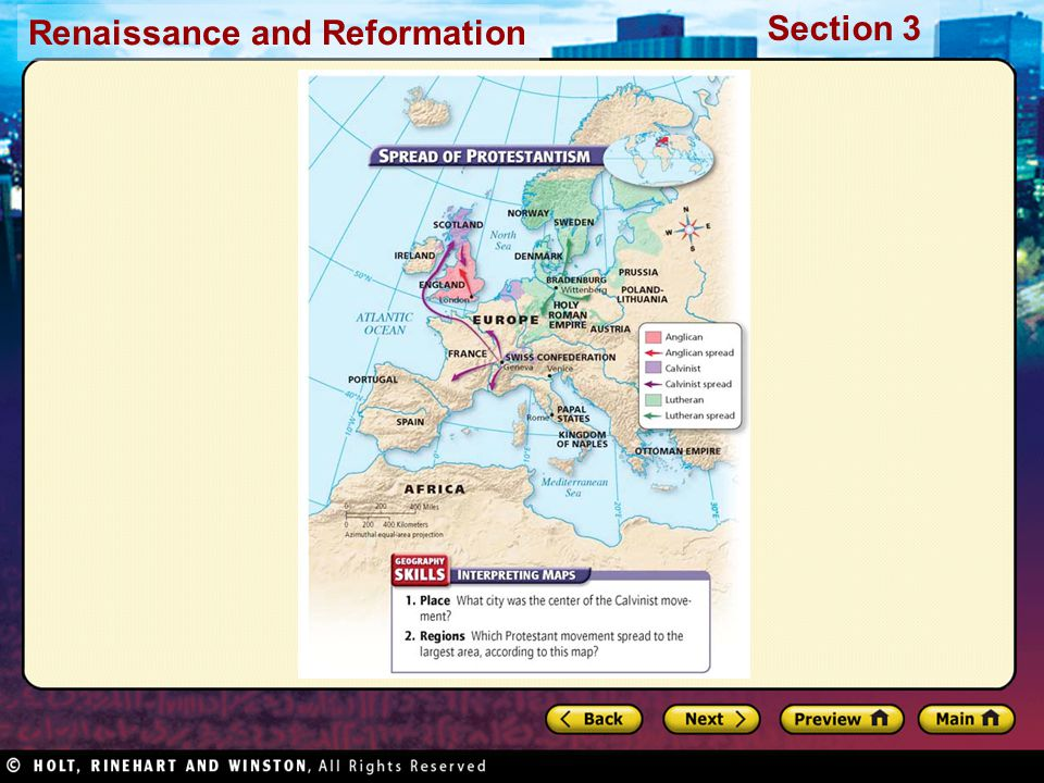 Renaissance and Reformation Section 3