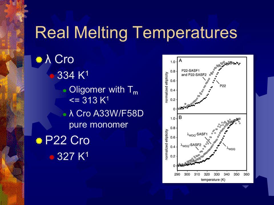 Real Melting Temperatures  λ Cro  334 K 1  Oligomer with T m <= 313 K 1  λ Cro A33W/F58D pure monomer  P22 Cro  327 K 1
