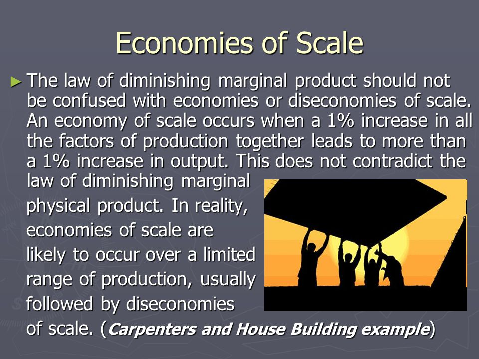 Economies of Scale ► The law of diminishing marginal product should not be confused with economies or diseconomies of scale.