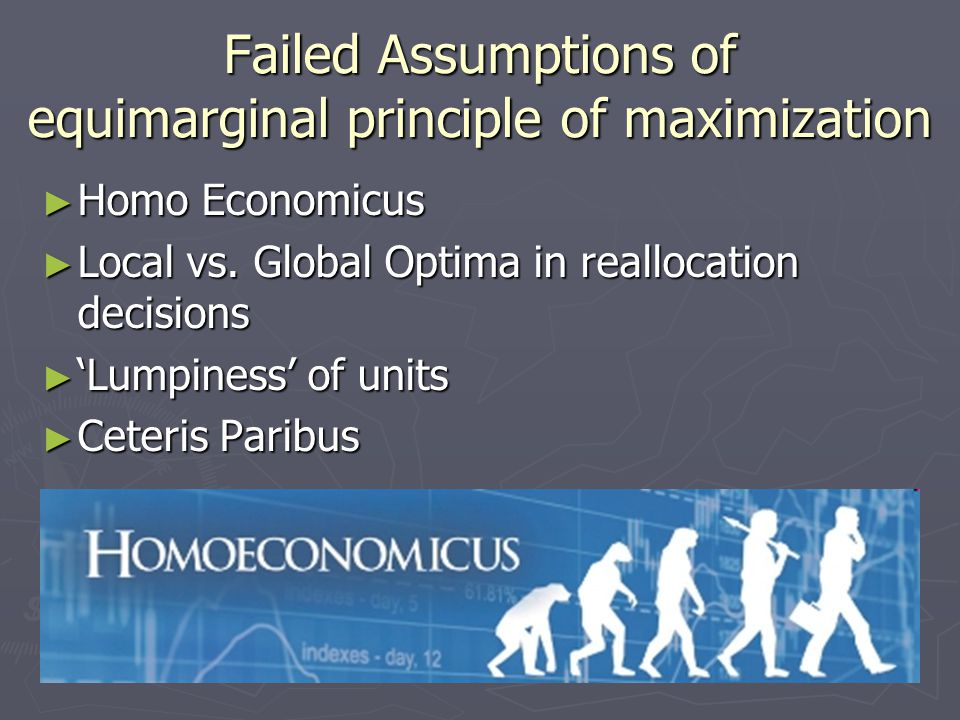 Failed Assumptions of equimarginal principle of maximization ► Homo Economicus ► Local vs.