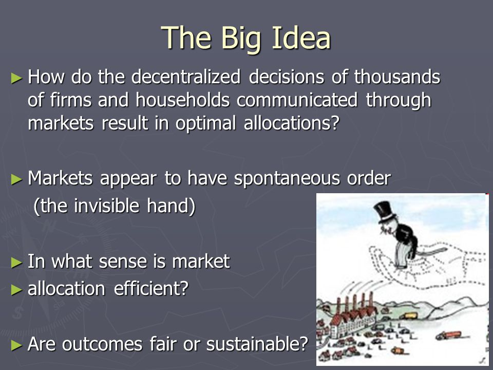 The Big Idea ► How do the decentralized decisions of thousands of firms and households communicated through markets result in optimal allocations.