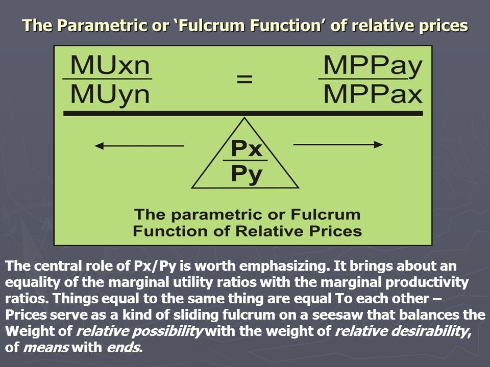 The Parametric or 'Fulcrum Function' of relative prices The central role of Px/Py is worth emphasizing.