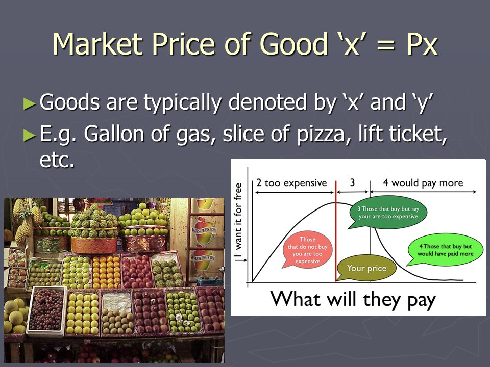 Market Price of Good 'x' = Px ► Goods are typically denoted by 'x' and 'y' ► E.g.