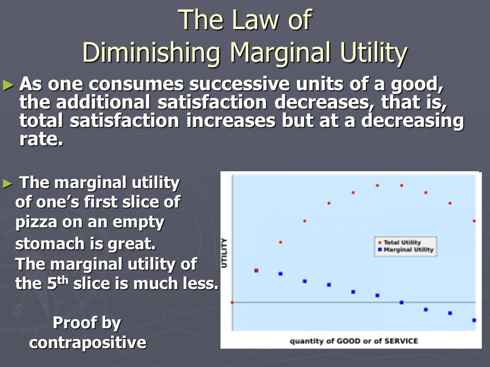 The Law of Diminishing Marginal Utility ► As one consumes successive units of a good, the additional satisfaction decreases, that is, total satisfaction increases but at a decreasing rate.