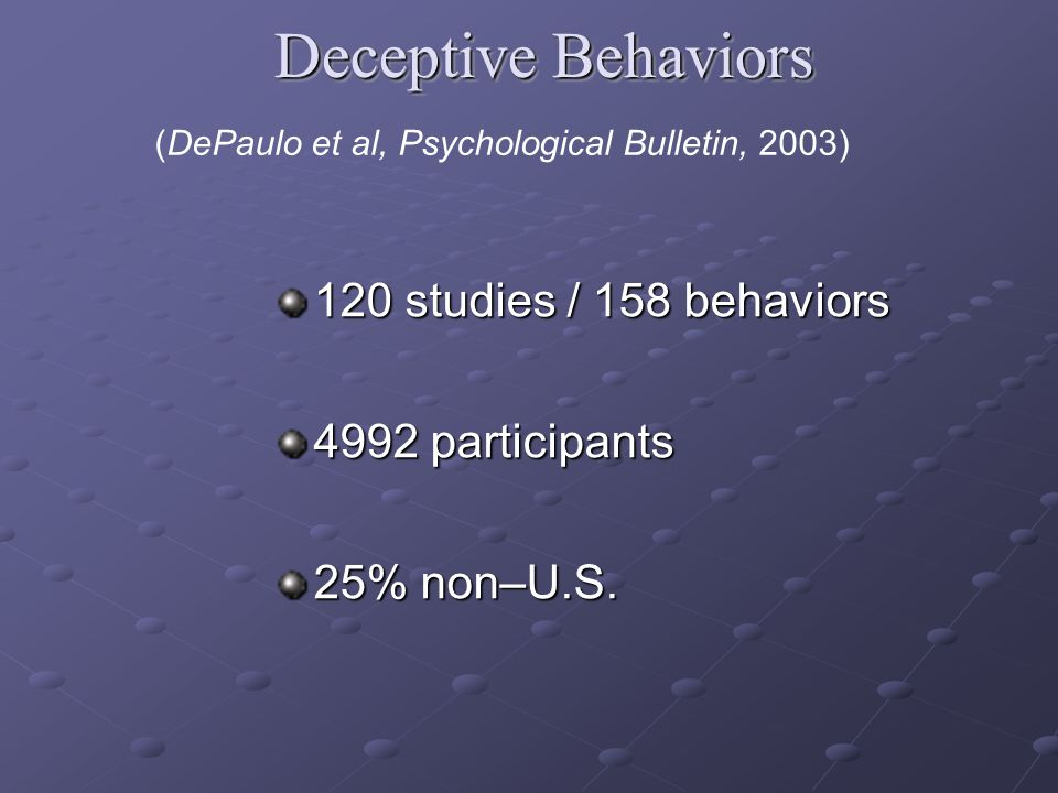 120 studies / 158 behaviors 4992 participants 25% non–U.S.