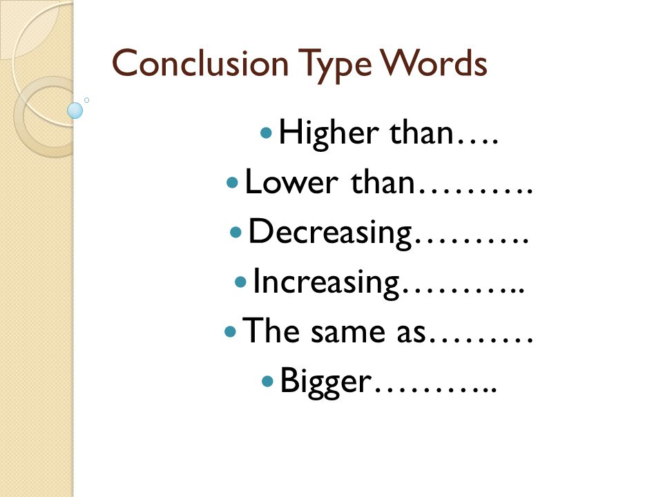 Conclusion Type Words Higher than…. Lower than………. Decreasing………. Increasing……….. The same as……… Bigger………..