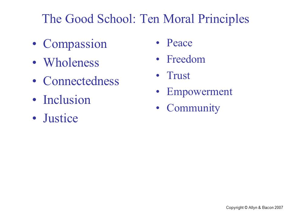 Copyright © Allyn & Bacon 2007 Priorities Educators committed to moral principles believe that if we base school reform on those principles, we will optimize meaningful student learning.