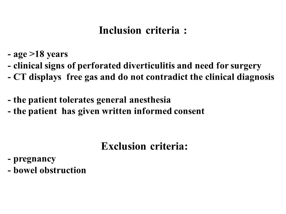 Inclusion criteria : - age >18 years - clinical signs of perforated diverticulitis and need for surgery - CT displays free gas and do not contradict the clinical diagnosis - the patient tolerates general anesthesia - the patient has given written informed consent Exclusion criteria: - pregnancy - bowel obstruction