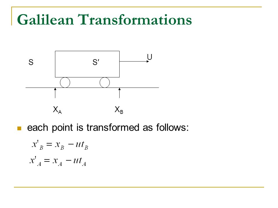 Galilean Transformations each point is transformed as follows: U S′S XAXA XBXB