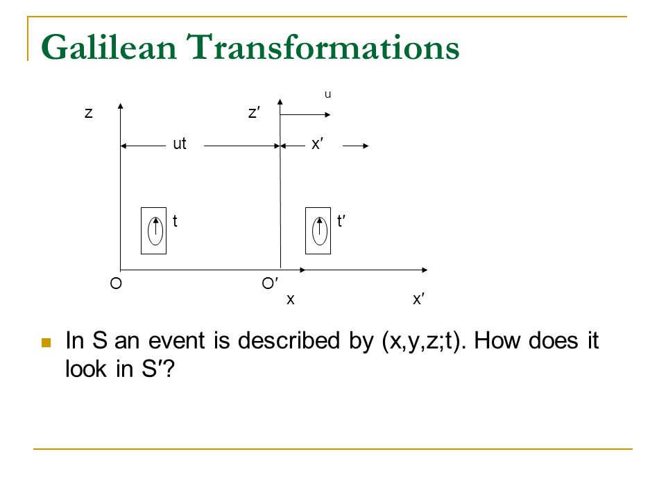 Galilean Transformations Hence for a Galilean transform, lengths are invariant for inertial reference frames.