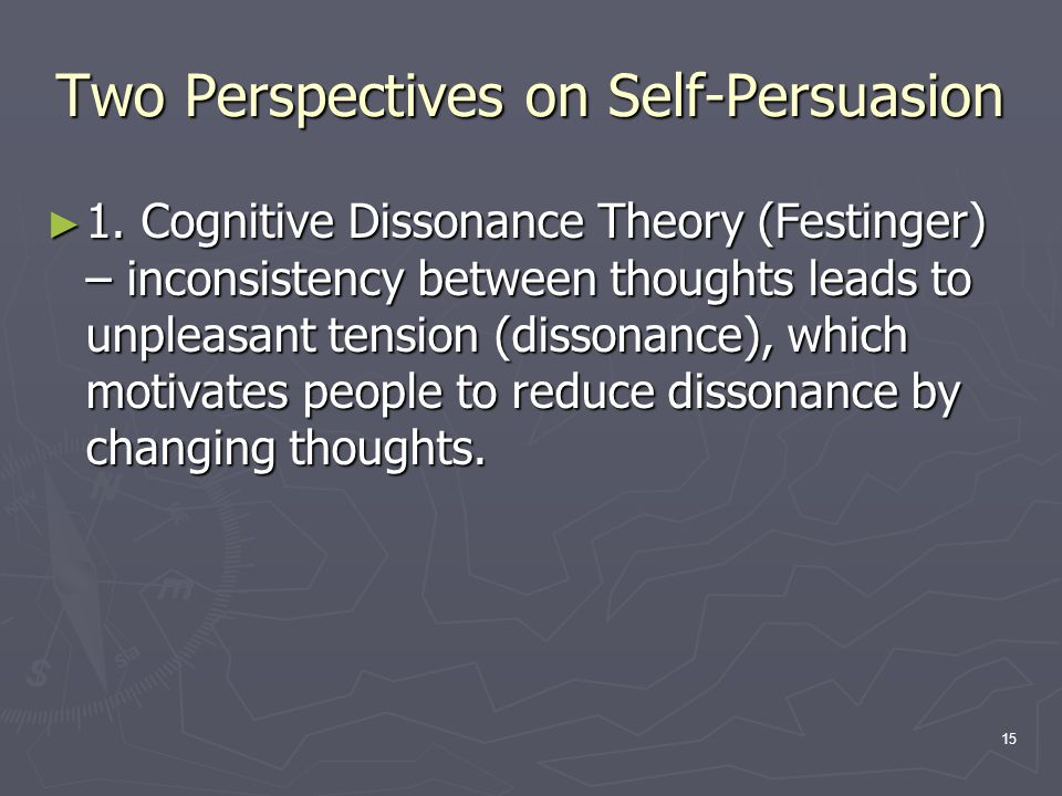 15 Two Perspectives on Self-Persuasion ► 1.