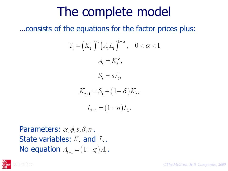 © The McGraw-Hill Companies, 2005 The complete model …consists of the equations for the factor prices plus: Parameters:. State variables: and. No equa