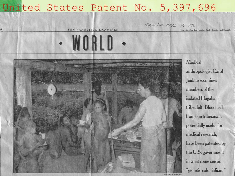 Hagahai Patent United States Patent No. 5,397,696