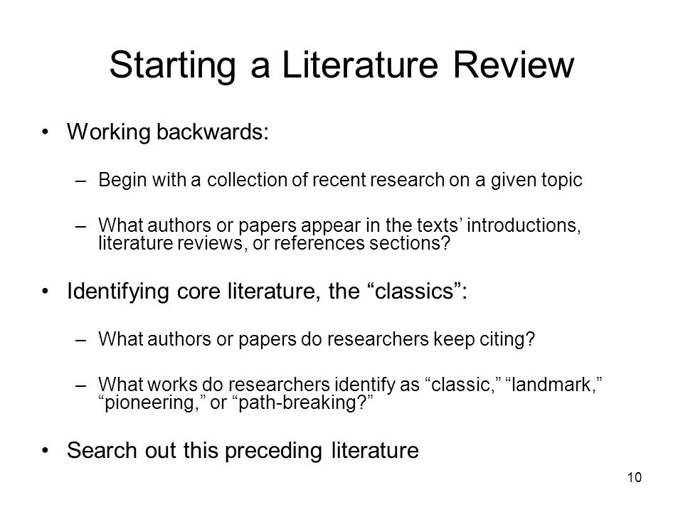 How to begin a literature review