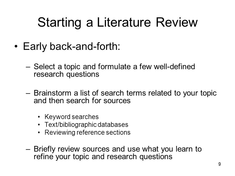 20 Writing a Literature Review Musts for your writing: –Evaluate/Gaps: Identify shortcomings of particular studies and/or the body of research as a whole; be critical.