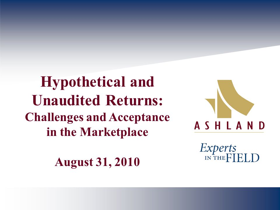 Hypothetical and Unaudited Returns: Challenges and Acceptance in the Marketplace August 31, 2010