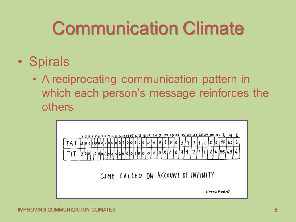 8 IMPROVING COMMUNICATION CLIMATES Communication Climate Spirals A reciprocating communication pattern in which each person's message reinforces the others