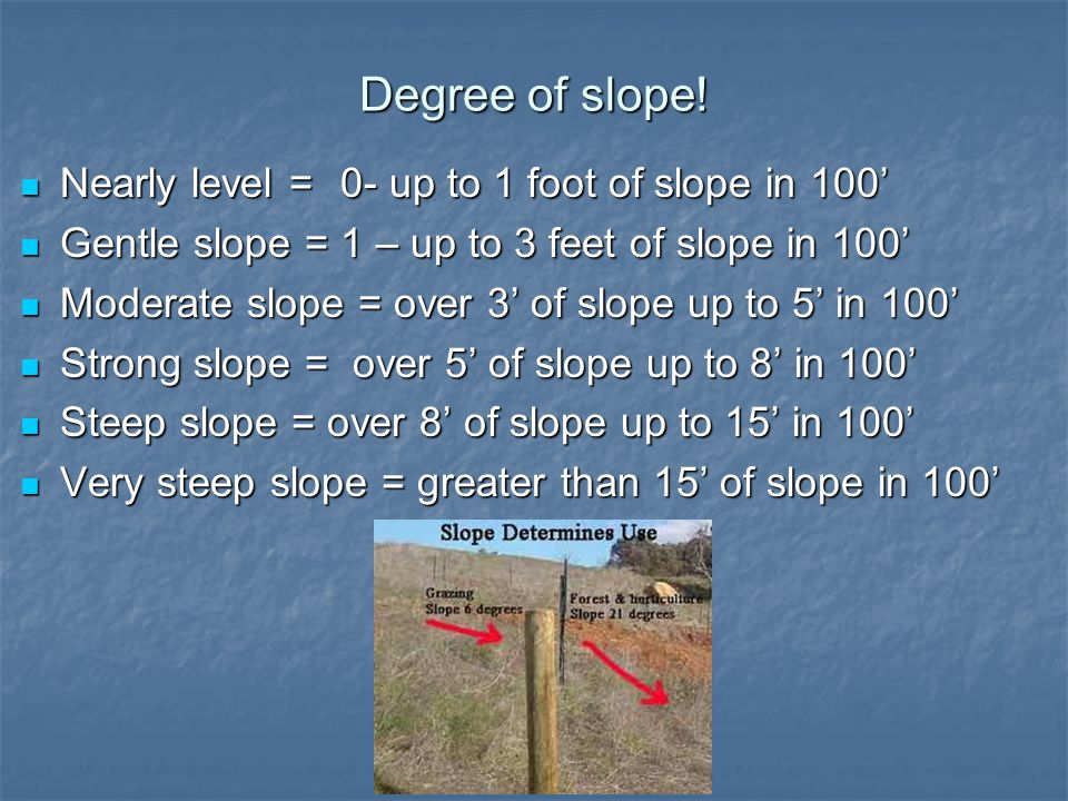 Degree of slope! Nearly level =0- up to 1 foot of slope in 100' Nearly level =0- up to 1 foot of slope in 100' Gentle slope = 1 – up to 3 feet of slop